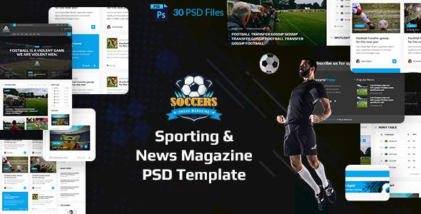 SoccersPress - Sporting & News Magazine PSD Template            TFx Len Yancy