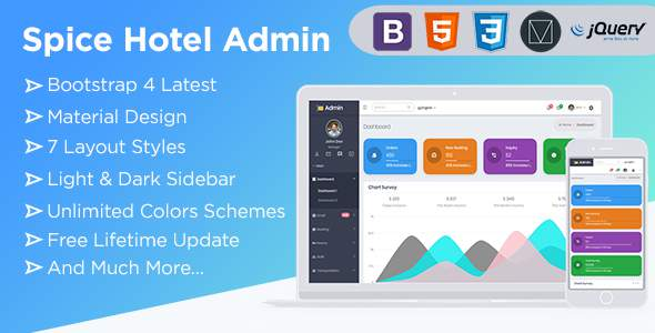 Spice Hotel | Bootstrap 4  Admin Dashboard Template With Material Components + UI Kit            TFx Ambrose Merit