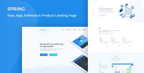 Spring – Software, App, Saas & Product Showcase Landing HTML5 Template            TFx Lindsay Baishan