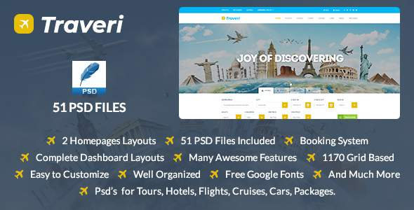 Traveri - Travel, Tour Booking Psd Template            TFx Taegan Lake