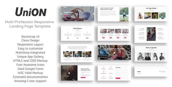 Union - Multi-Profession Responsive Landing Page Template            TFx Zachary Shouhei