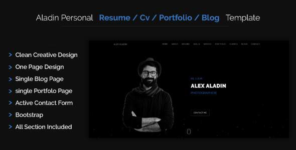 Aladin - One Page CV/Resume Template            TFx Colten Tobias