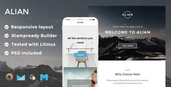 Alian Responsive Email Template + Stampready Builder + Mailchimp + Mailster            TFx Shanon Gurgen