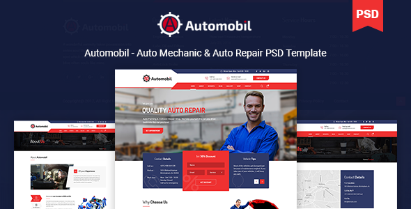 Automobil - Auto Mechanic & Auto Repair PSD Template            TFx Carl Buddha