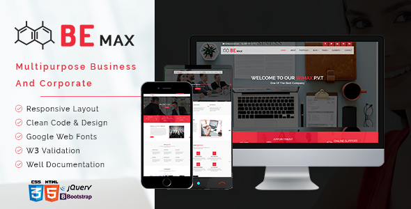 BE MAx - Multipurpose Business and Corporate HTML5 Template            TFx Gerard Teagan