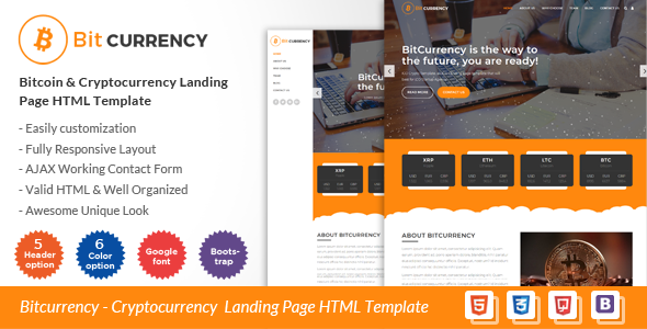 Bitcurrency – Bitcoin and Cryptocurrency Landing Page HTML Template            TFx Damon Toros