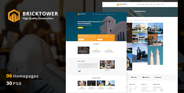 Bricktower - Construction Business, Building Company PSD Template            TFx Berry Everitt