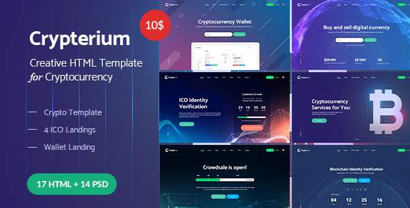 Crypterium – Cryptocurrency & ICO Landing Pages HTML Pack            TFx Kenrick Driscoll
