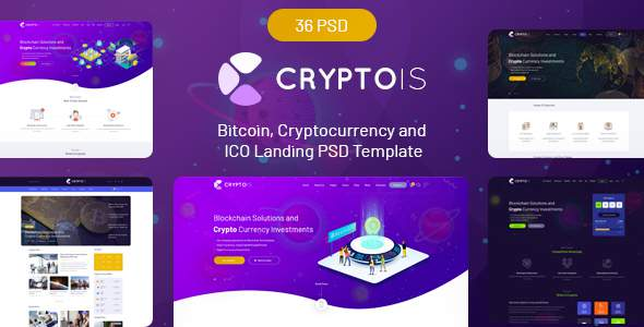 Cryptois - Bitcoin, Cryptocurrency and ICO Landing PSD Template            TFx Grier Denholm