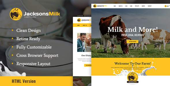 Dairy Farm & Eco Products HTML Template            TFx Cornelius Timothy