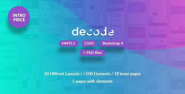 Decode - Premium HML5 & CSS3 Bootstrap 4 Template            TFx Brian Jimmy