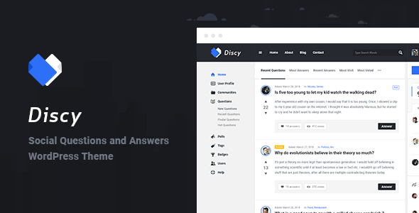 Discy - Social Questions and Answers WordPress Theme            TFx Tobias Johnathan