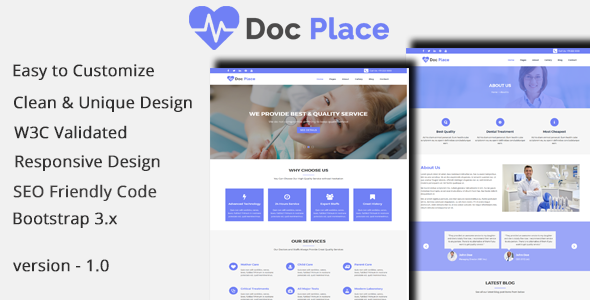 DocPlace - Health and Medical HTML Responsive Template.            TFx Jae Windsor