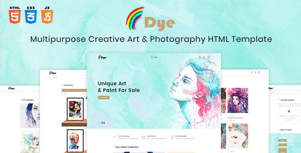 Dye – Multipurpose Creative Shop Art & Photography HTML Template            TFx Faramond Aoi