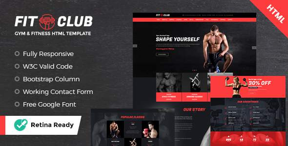 FITCLUB - Gym and Fitness Landing Page HTML            TFx Dillan Malakai