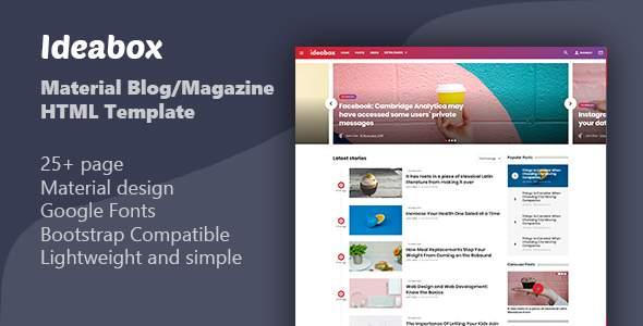 Ideabox - Material Blog/Magazine HTML Template            TFx Balfour Gray