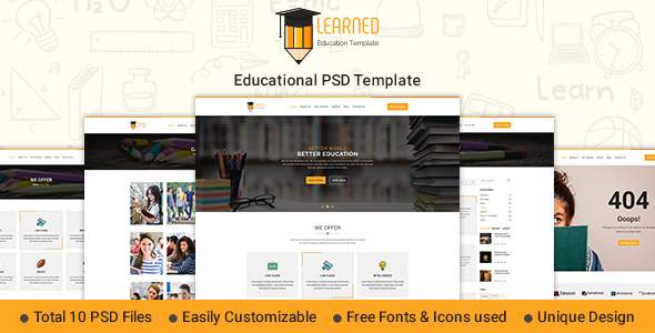 Learned - Education PSD Template            TFx Merit Vern