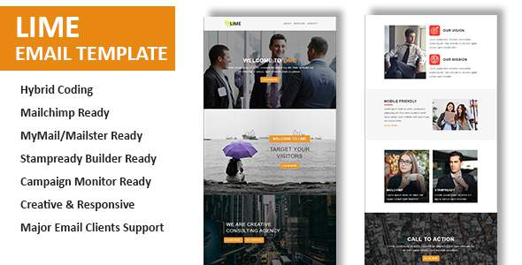 Lime – Multipurpose Responsive Email Template With Online StampReady Builder Access            TFx Jackie Dolph