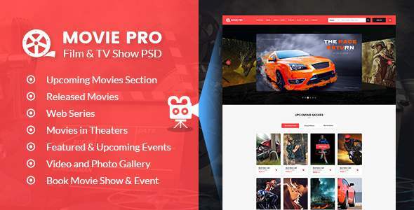 Movie Pro - Film and TV Show PSD Template            TFx Elton Phillip