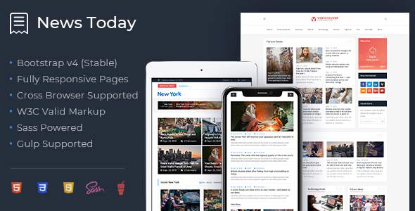 NewsToday – Responsive Modern Newspaper and Magazine HTML5 Template            TFx Travis Hideki