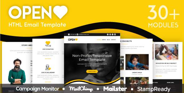 Open Heart – Responsive Email for Non Profit 30+ Modules – StampReady Builder + Mailster & Mailchimp            TFx Laz Kynaston