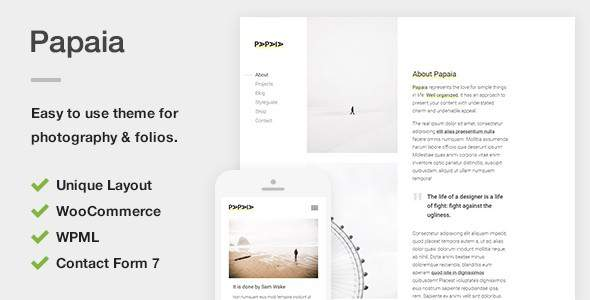Papaia - Photography & Portfolio WordPress Theme            TFx Zach Kazuo