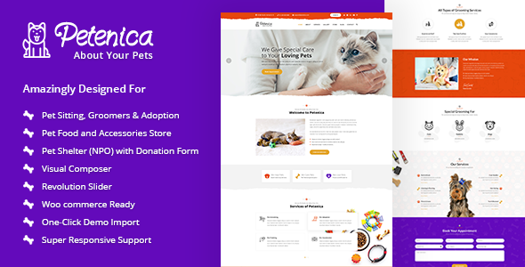 Petenica: Pet Sitter and Adoption WordPress Theme            TFx Dean Wilkie