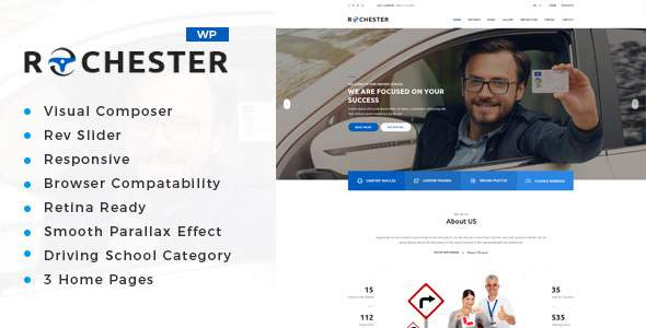 Rochester - Driving School WordPress Theme            TFx Terence Norris