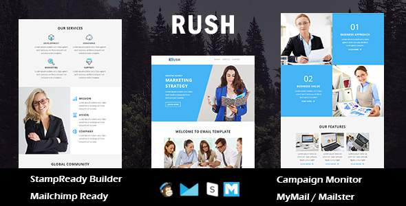 Rush - Multipurpose Responsive Email Template With Online Stampready Builder Access            TFx Metztli Wilson