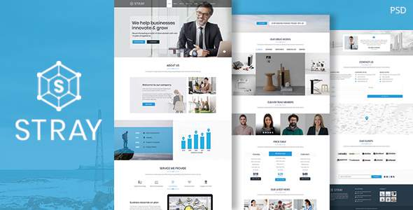 Stray – One Page Business PSD Template            TFx Kit Huey