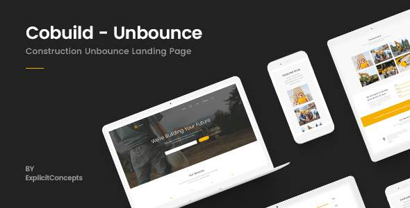 Unbounce Construction Landing Page Template – Cobuild            TFx Chip Linden