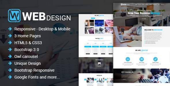 Web Design - Responsive One Page HTML Template            TFx Jojo Osborne