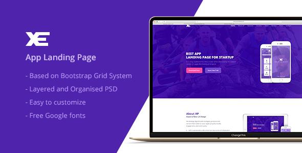 XE -  App Landing Page PSD Template            TFx Nolan Origen