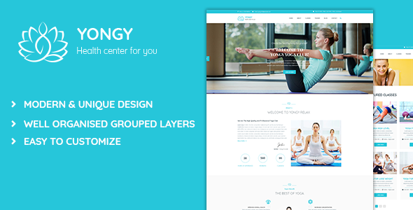 Yongy - Health and Yoga PSD Template            TFx Lawrie Jaci