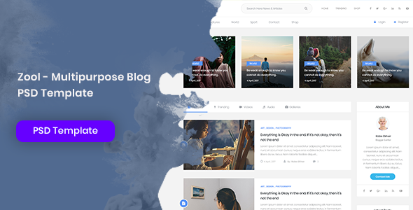 Zool - Multipurpose Blog PSD Template            TFx Haven Odeserundiye