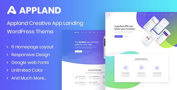 Appland - Creative App Landing WordPress Theme            TFx Nerses Lincoln