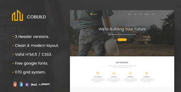 Cobuild - Construction Landing Page Html Template            TFx Zechariah Milo