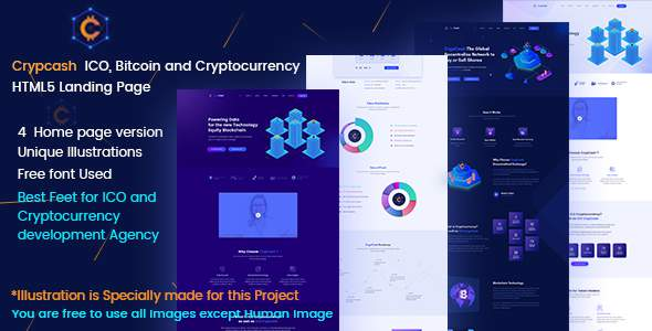 Crypcash - ICO, Bitcoin and Cryptocurrency Landing  page            TFx Haydn Tristram