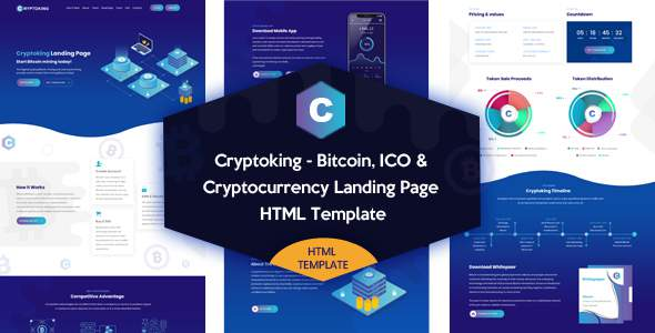 Cryptoking - Bitcoin & ICO Cryptocurrency Landing Page HTML Template            TFx Khazhak Grayson