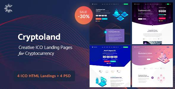 Cryptoland - ICO Landing Pages & Cryptocurrency HTML Pack            TFx Garrett Will