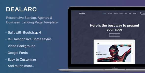 Dealarc – Responsive Startup, Agency & Business  Landing Page Template            TFx Wickaninnish Faron
