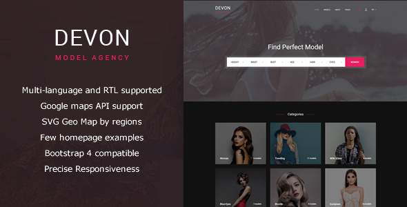 Devon – Model Agency Directory HTML Theme            TFx Albert Louis