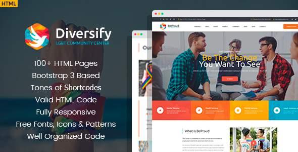 Diversify – LGBT Community HTML Template            TFx Wayna Austin