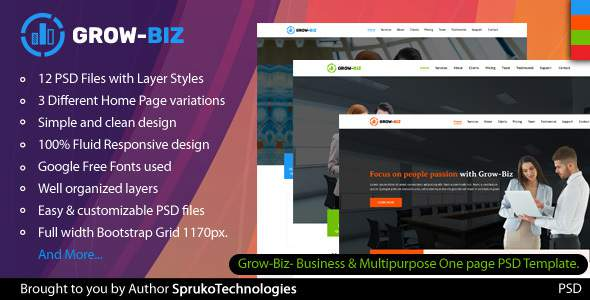 Grow-Biz- Business & Multipurpose One page PSD Template            TFx Duncan Shelton