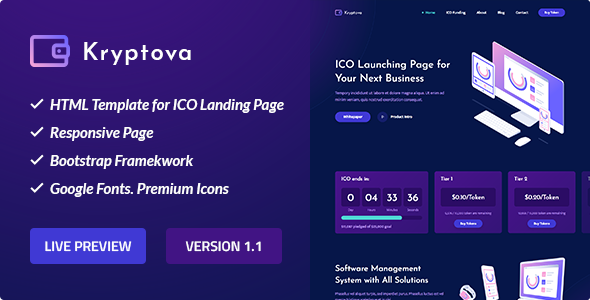 Kryptova – ICO Landing Page, ICO Bitcoin and Cryptocurrency Template            TFx Dewayne Kenshin