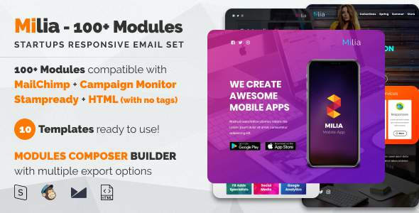 Milia 100 - Responsive Email with Mailchimp Editor, StampReady & Online Builder            TFx Azat Callahan