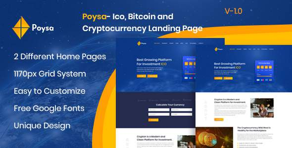 Poysa  - Bitcoin and Cryptocurrency PSD Template            TFx Lewis Lauren