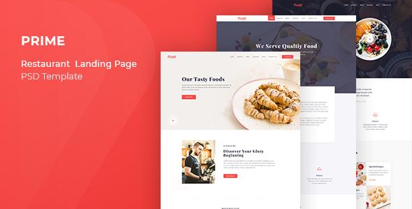Prime – Restaurant Landing Page PSD Template            TFx Wayan Vahan