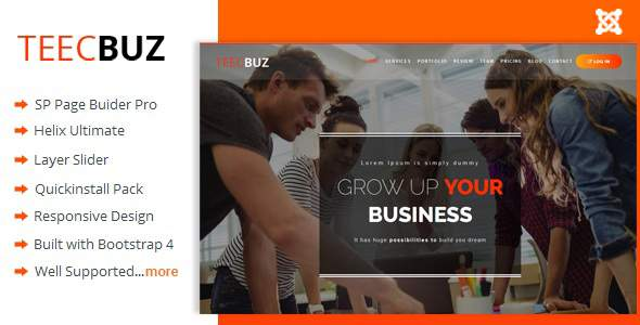 TeecBuz - Business Onepage Multi-Purpose Helix Ultimate Joomla Template            TFx Ferdie Donnie