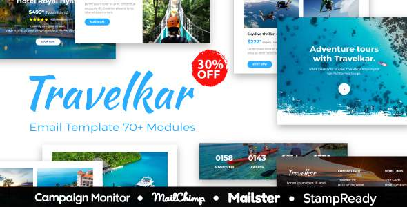 Travelkar - Responsive Email for Travel 70+ Modules - StampReady Builder + Mailster & Mailchimp            TFx Gabriel Citlali
